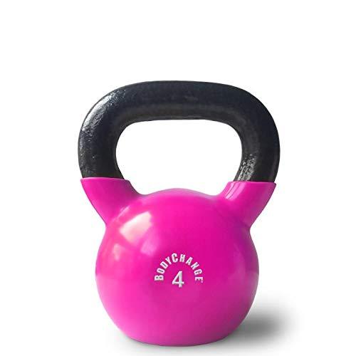 Kettlebell 4kg aus Gusseisen mit Vinylummantelung - pink - Kugelhantel für Zuhause oder Studio