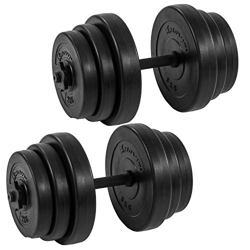 Movit® Kurzhantel 2er Set, Kurzhantelset Gewicht 40kg (2x20kg) Kurzhanteln Stangen gerändelt...