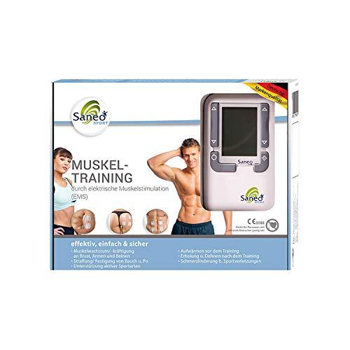 SaneoSPORT Muskeltraining elektrischer EMS TENS Muskelstimulator für Muskelaufbau am gesamten...