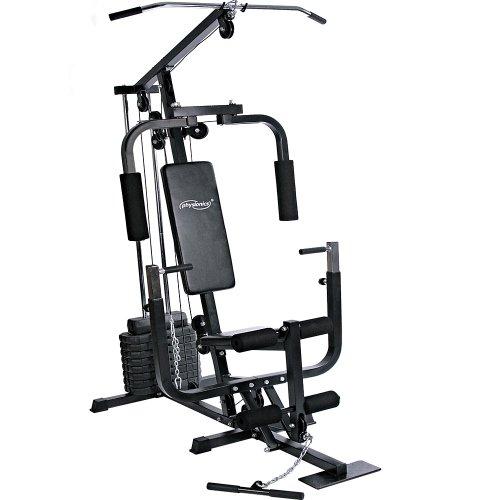 Physionics® Kraftstation - mit 40kg Gewichten, verstellbar, Latzug, Bankdrücken, Butterfly,...