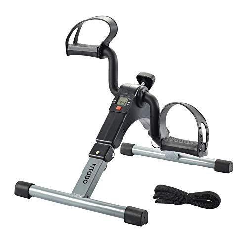 FITODO Mini Fahrrad Pedaltrainer für Arm- und Beintrainer Heimtrainer mit LCD-Monitor