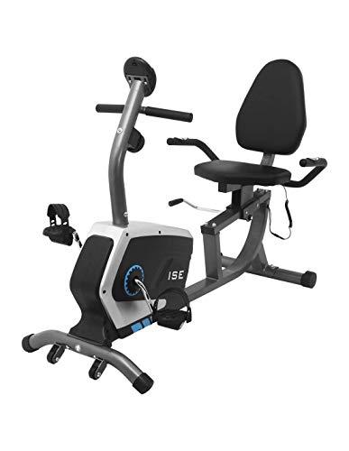 ISE Ergometer Heimtrainer mit Magnetbremssystem, Transporträdern, Pulssensoren und LCD-Display, 8...