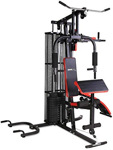 SportPlus Kraftstation, Multifunktionale Fitnessstation inkl. Gewichte, verstellbare Sit-Up-Bank,...