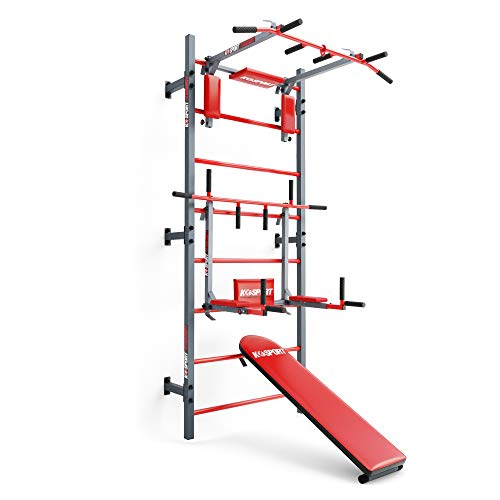 K-Sport: Trainingsset Sprossenwand+Dip Station, Klimmzugstange & Trainingsbank I Kraftstation mit...