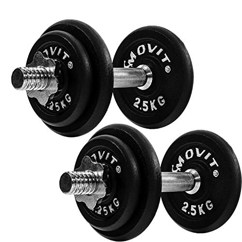 Movit® Kurzhanteln PRO 2er Set, Gusseisen Hanteln, 30kg bestehend aus 2X 15kg, Stangen 30mm...