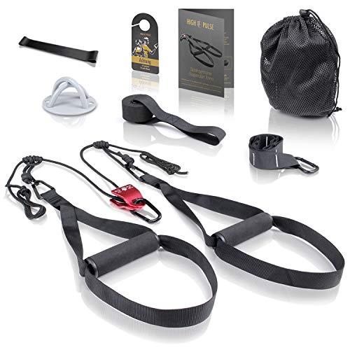 High Pulse® Schlingentrainer Set (7-TLG.) – Umfassendes Sling Trainer Kit mit Umlenkrolle,...