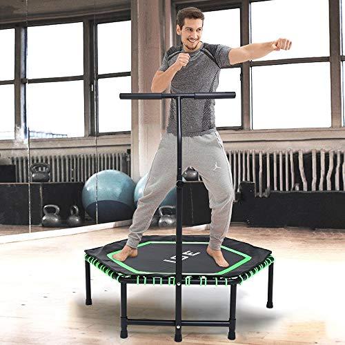 ISE Fitness Trampolin mit Handyhalter,Trampolin für Jumping Fitness Ø 122 cm höhenverstellbarer...
