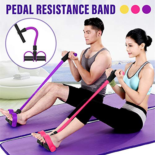 gracosy Upgrade 4 Tubes Pedal Resistance Band Elastisches Sit-up Pull Rope Bodybuilding Expander...
