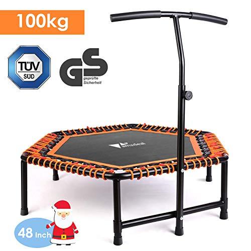 amzdeal Fitness Trampolin Faltbares |Ø ca 124cm, Jumping Fitness Trampolin, Gummiseilfederung,...