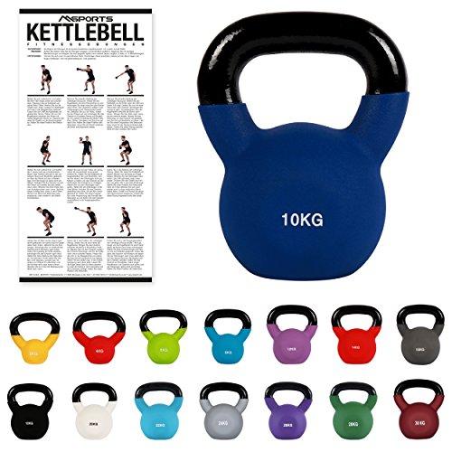 MSPORTS Kettlebell Neopren 2 – 30 kg inkl. Übungsposter (10 Kg - Dunkelblau) Kugelhantel
