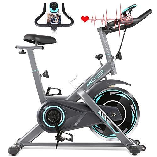 ANCHEER Heimtrainer, Indoor Cycling Bike Fitnessbike Mit Herzfrequenzmonitor & LCD Monitor, Bequeme...